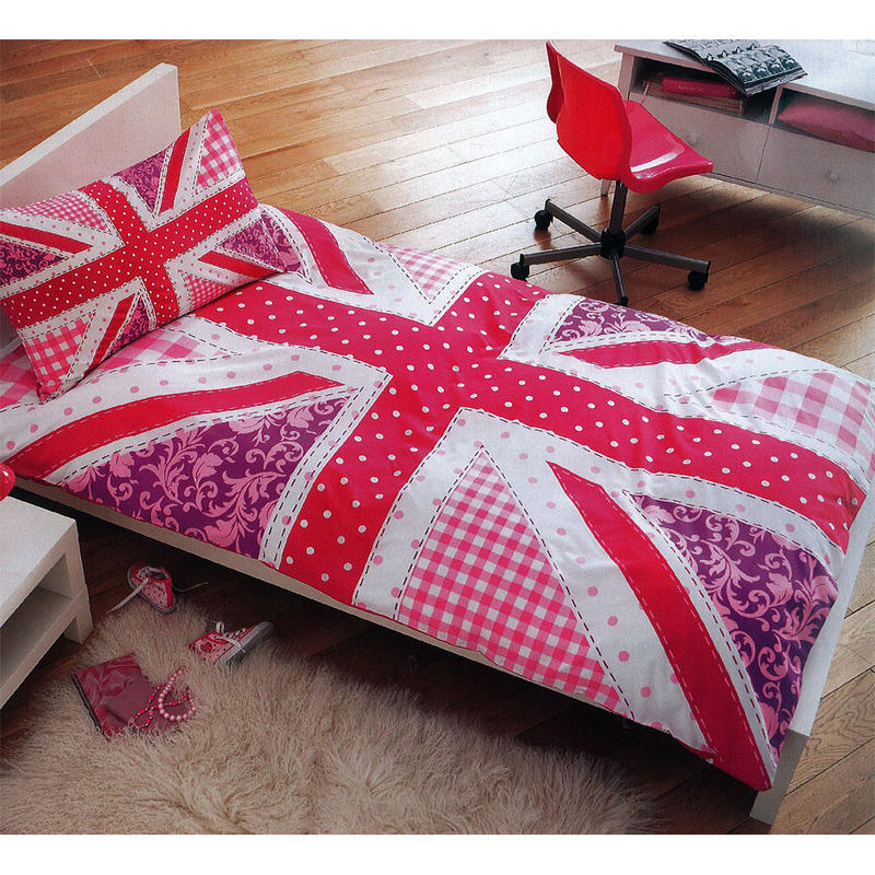 Girls Pink Union Jack Single Duvet Cover Bed Sheet Set