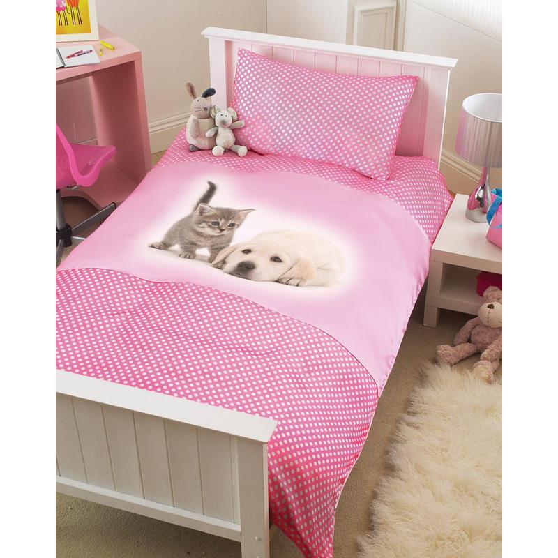 Childrens Pink Puppy Kitten Single Bed Duvet Cover