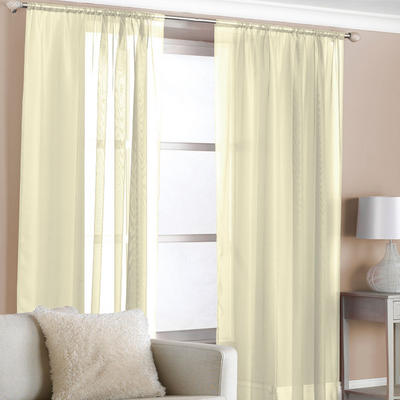 "Pair Of Cream Coloured Voile Curtain Panels With Slot Top Size 150cm x 229cm (59"" x 90"")"