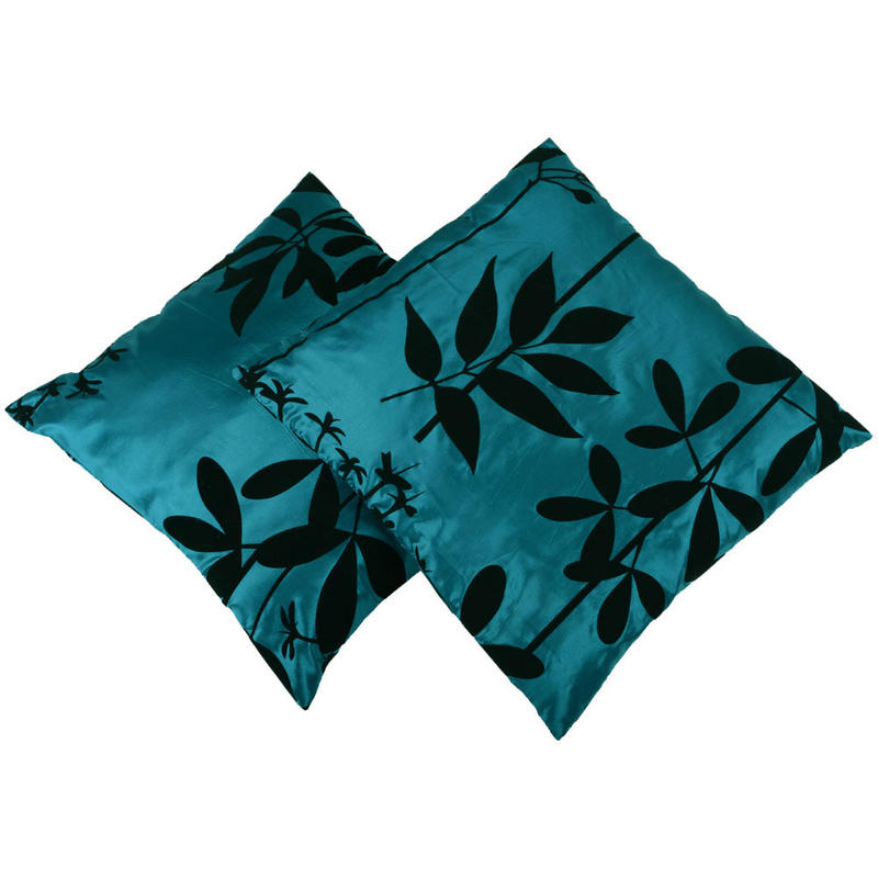 2 Pack Teal Cushion Covers Flocked Design Sofa Bed Pillow