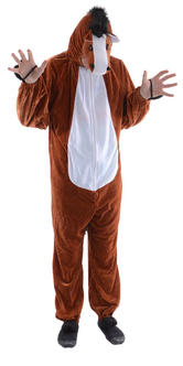 Ed The Horse Adult Animal One Piece Fancy Dress Halloween Costume One Size Thumbnail 2