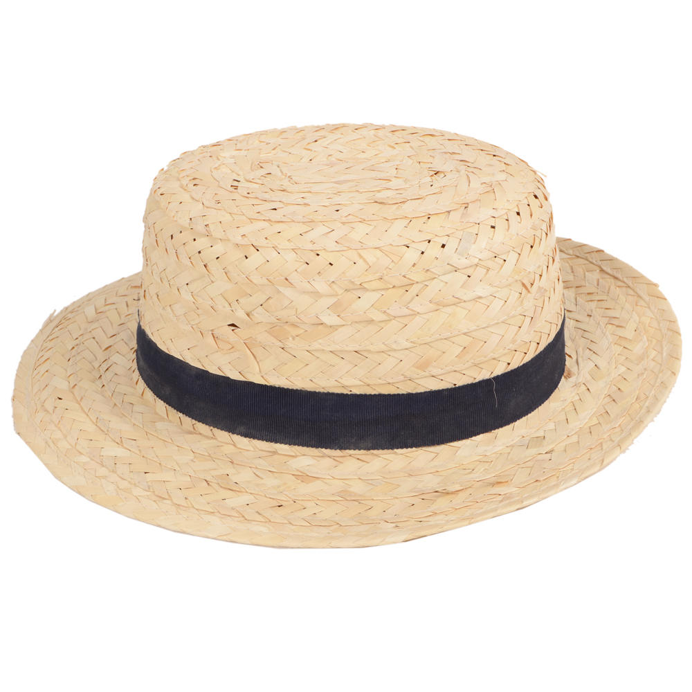 Leaf Straw Boater Hat by Brixton Hats, a new limited edition style available only while supplies last. Crafted in Mexico of % palm leaf straw, the Barcelona is a sturdy straw sun hat with a slight rock 'n roll edge in the form of a fringed chocolate brown hat band.