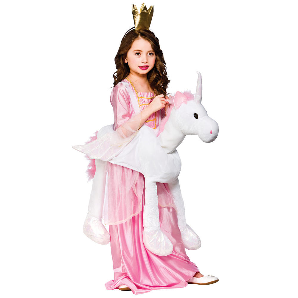Childrens Pink Amp White Ride On Unicorn Fancy Dress Up