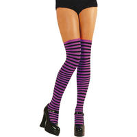 Ladies Sexy Purple & Black Striped Thigh High Stockings Fancy Dress Accessory