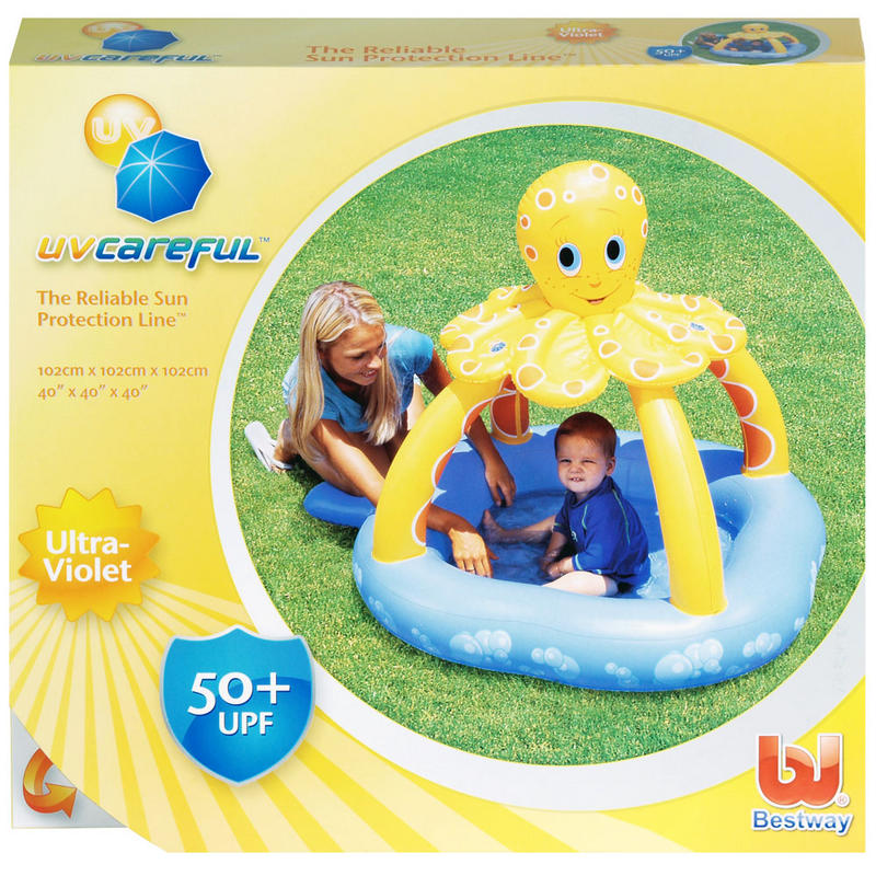 Bestway kids uv careful octopus sun shade inflatable for Best children s paddling pool