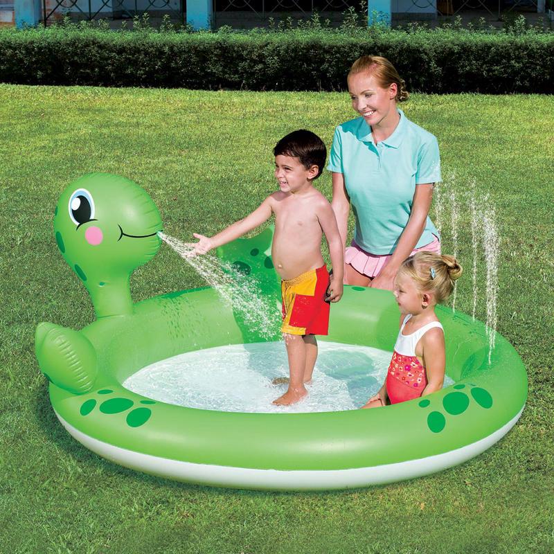 Splash Play Inflatable Interactive Turtle Water Spray Swim Paddling Pool