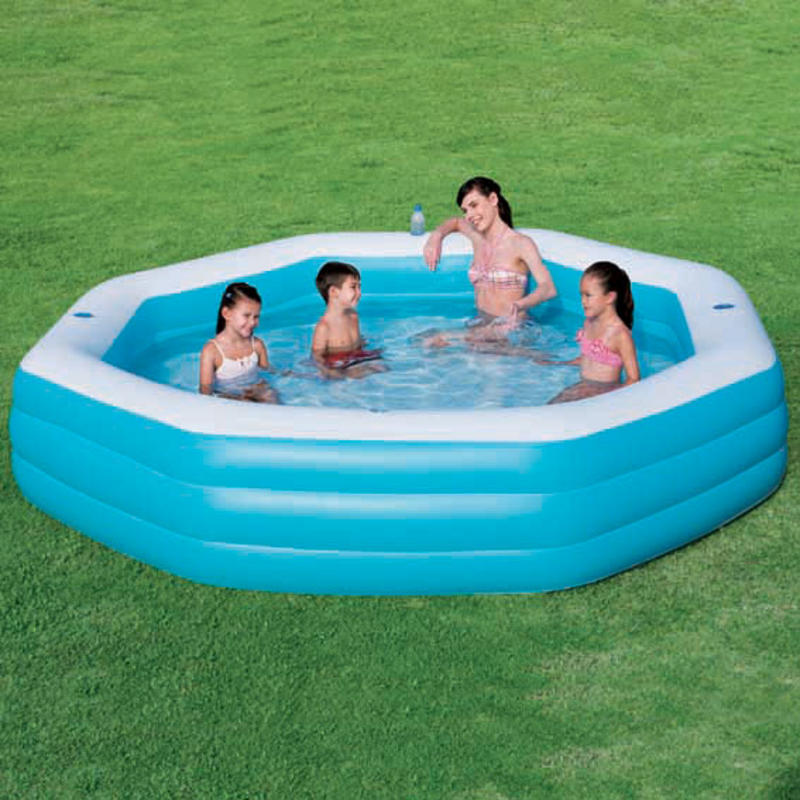 Octagonal inflatable family swimming paddling pool age 3 thumbnail 4