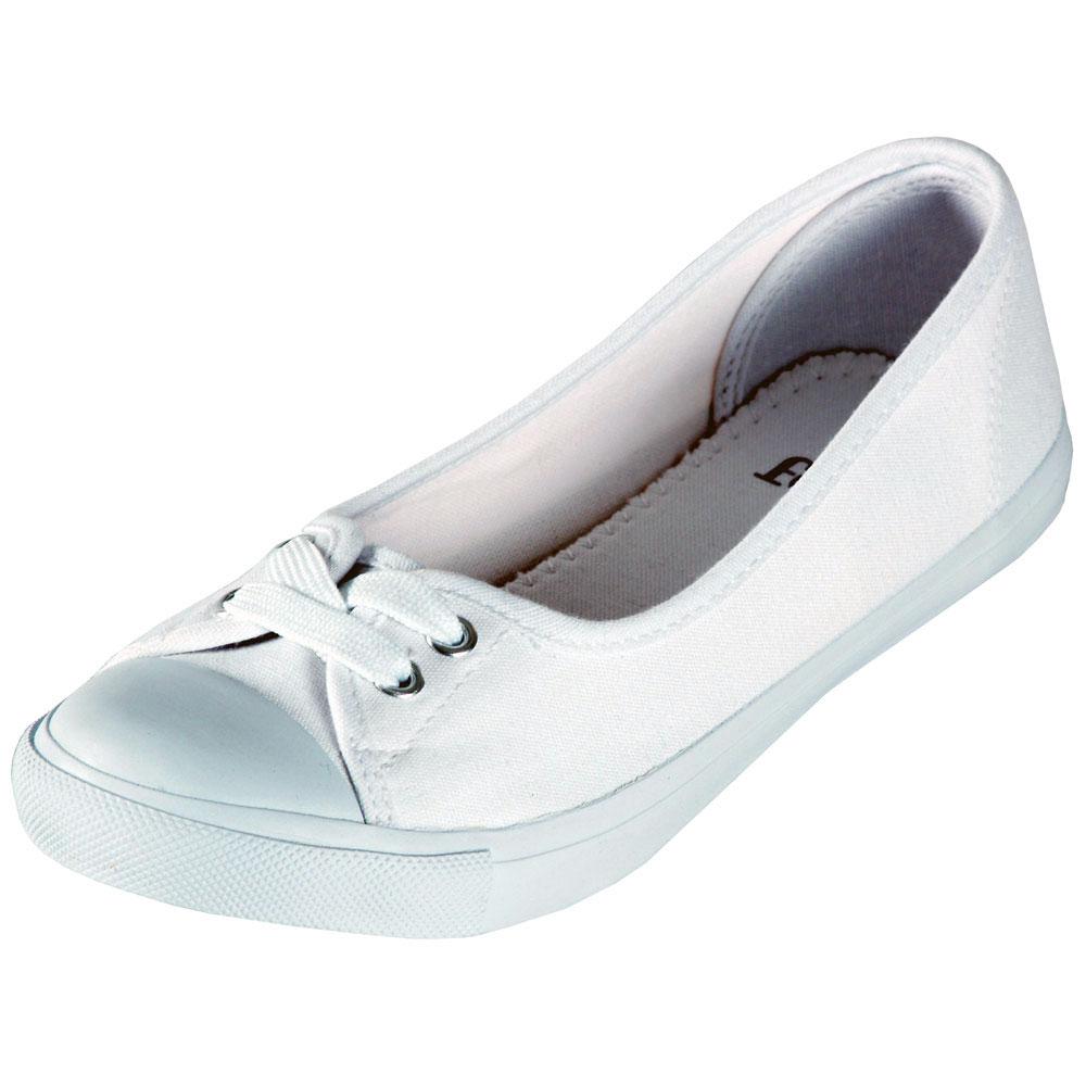 Ladies Faith White Canvas Flat Pumps Shoes UK Sizes 3-9 | EBay