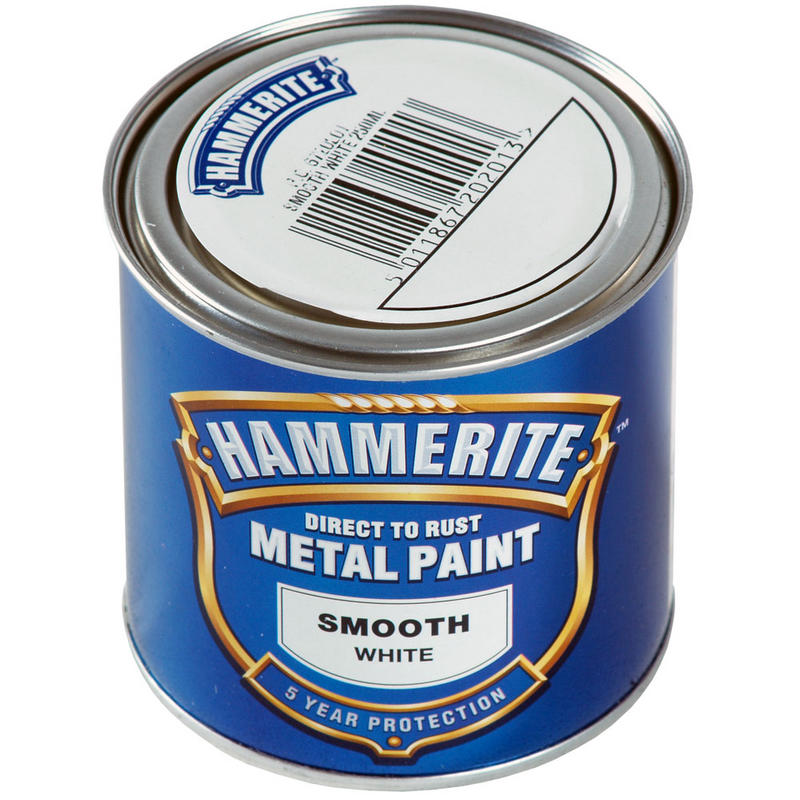 hammerite direct to rust exterior metal paint smooth white 250ml new
