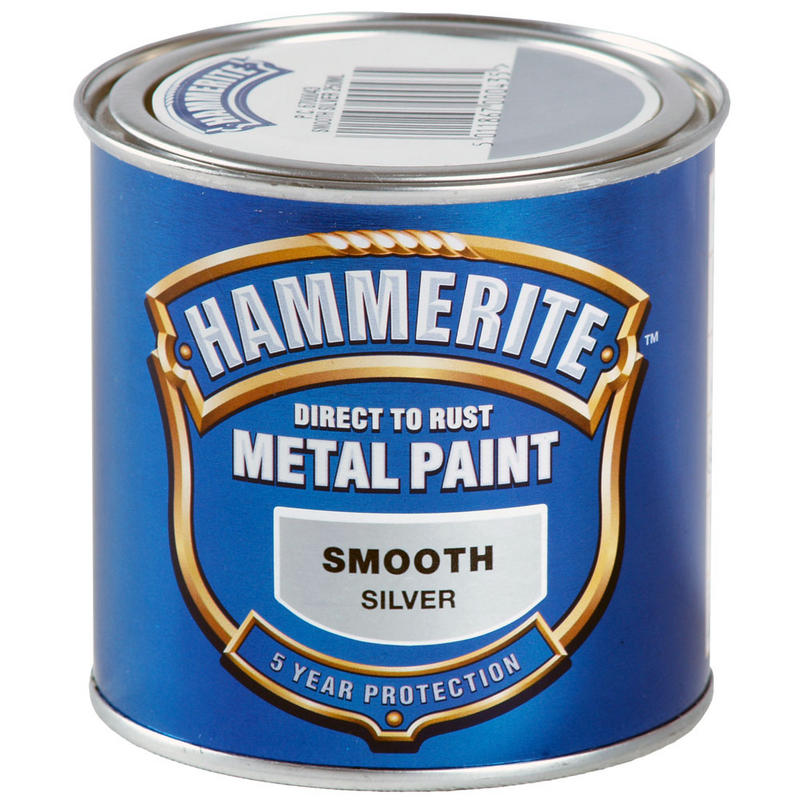 hammerite direct to rust exterior metal paint smooth silver 250ml new