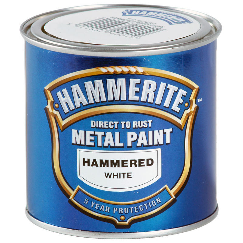 Hammerite direct to rust exterior metal paint hammered white 250ml new
