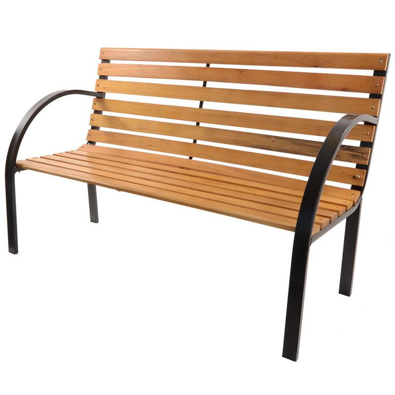 Azuma Arran 3 Seat Garden Natural Hardwood Bench Outdoor Furniture With Black Steel Frame