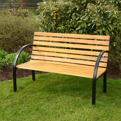 Arran 3 Seat Garden Natural Hardwood Bench Outdoor Furniture With Black Steel Frame By Azuma Preview