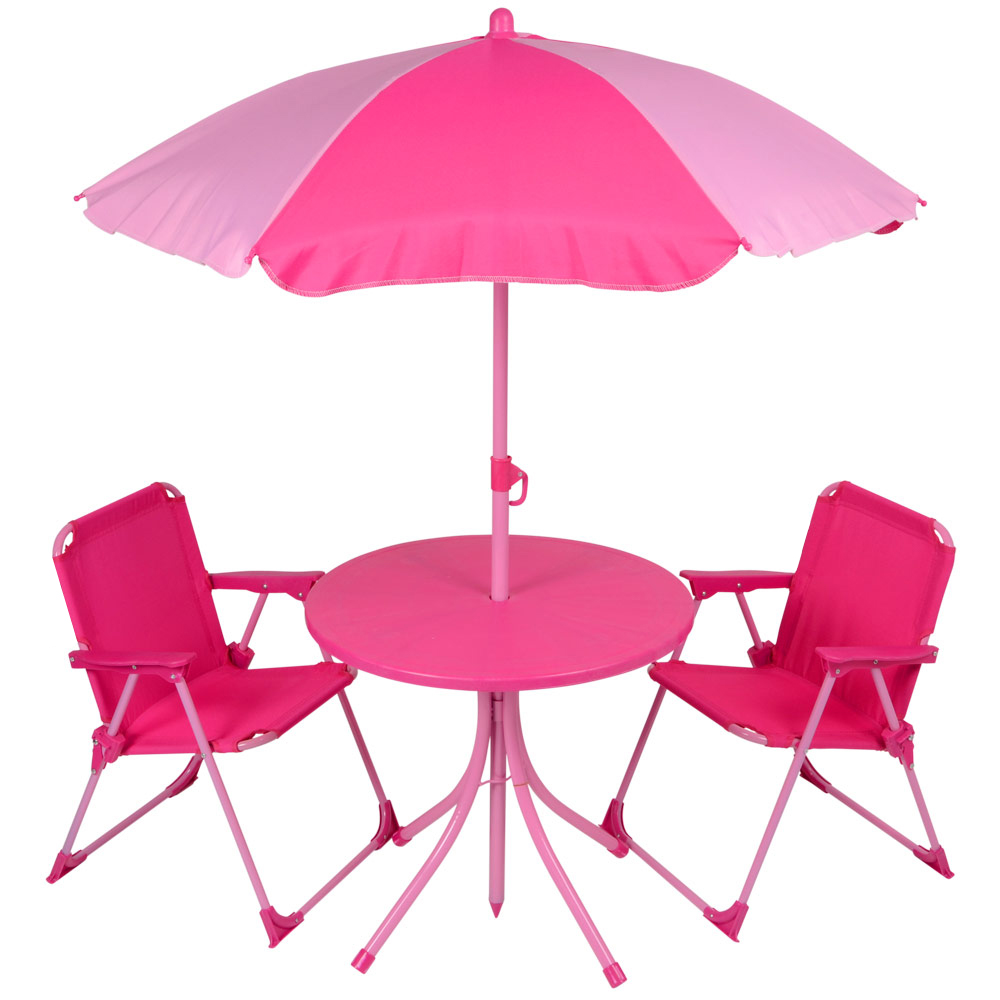Kids 4pc Garden Patio Furniture Set Pink Table Parasol Folding Camping Chairs