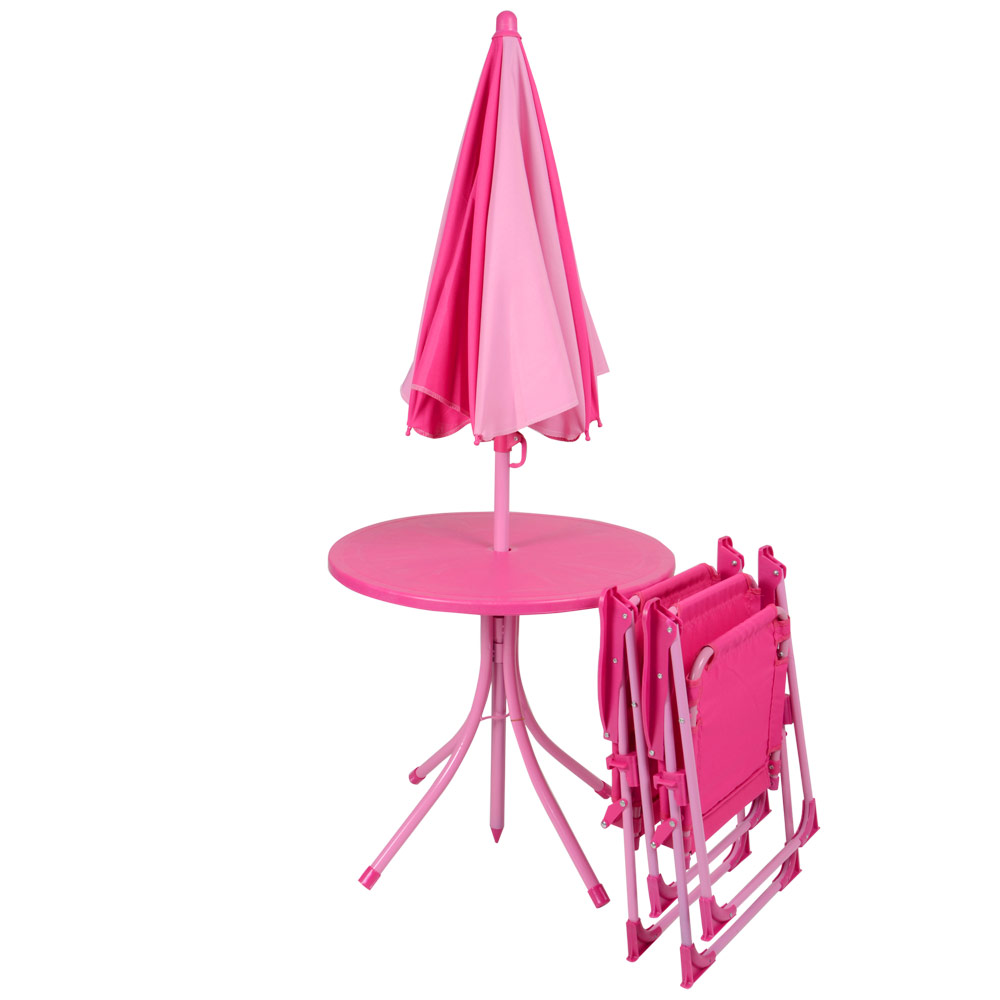 Pink Garden Table And Chair Set: Kids 4pc Garden Patio Furniture Set Pink Table Parasol