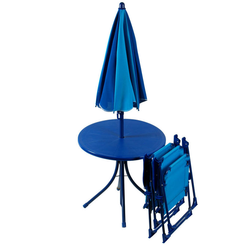 4pc garden patio set 2 tone blue table parasol chairs