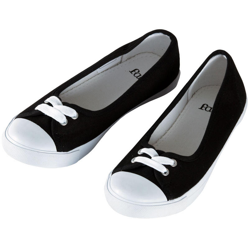 Ladies Faith Black Canvas Flat Plimsoles Ballet Pumps ...