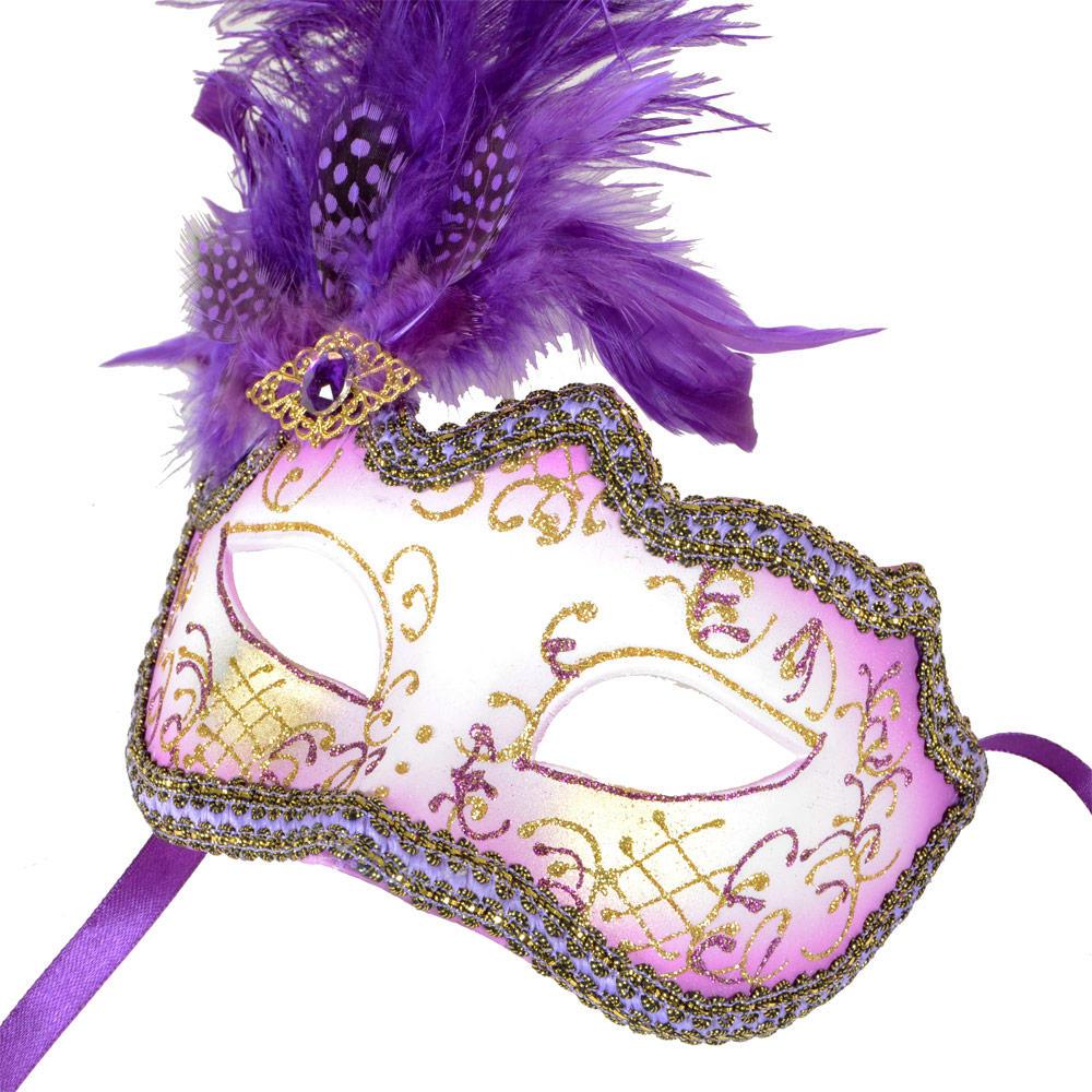 purple glitter masquerade festival fancy dress eye mask