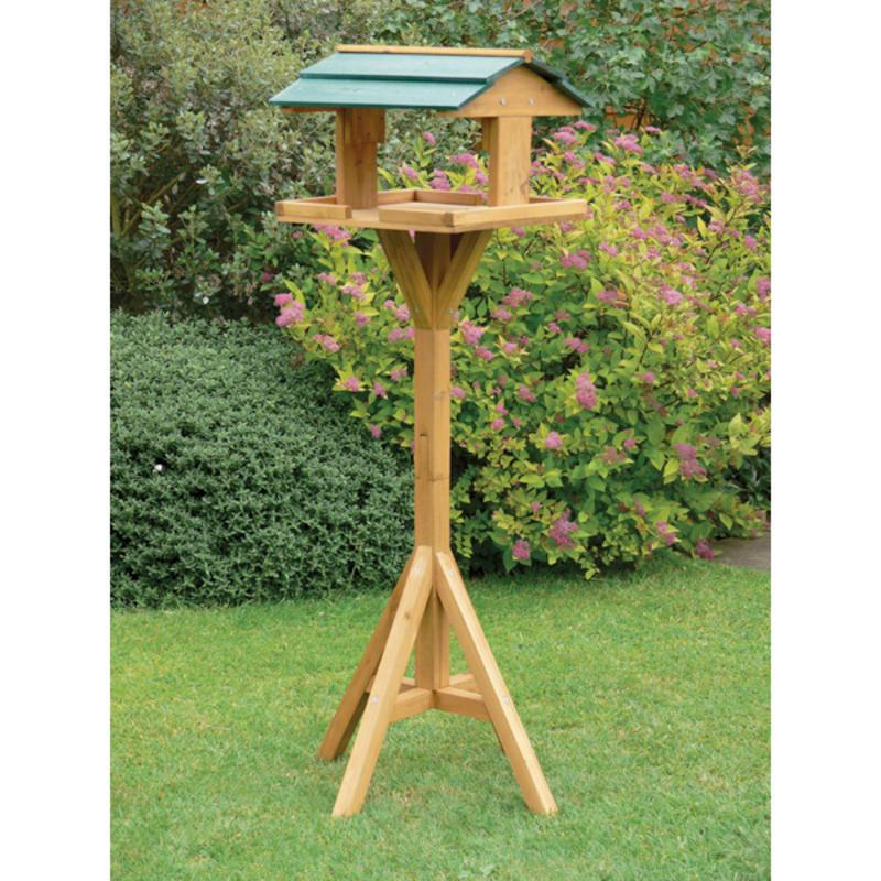 Garden wooden bird birds house table roof full length pre cut - Bird feeder garden designs ...