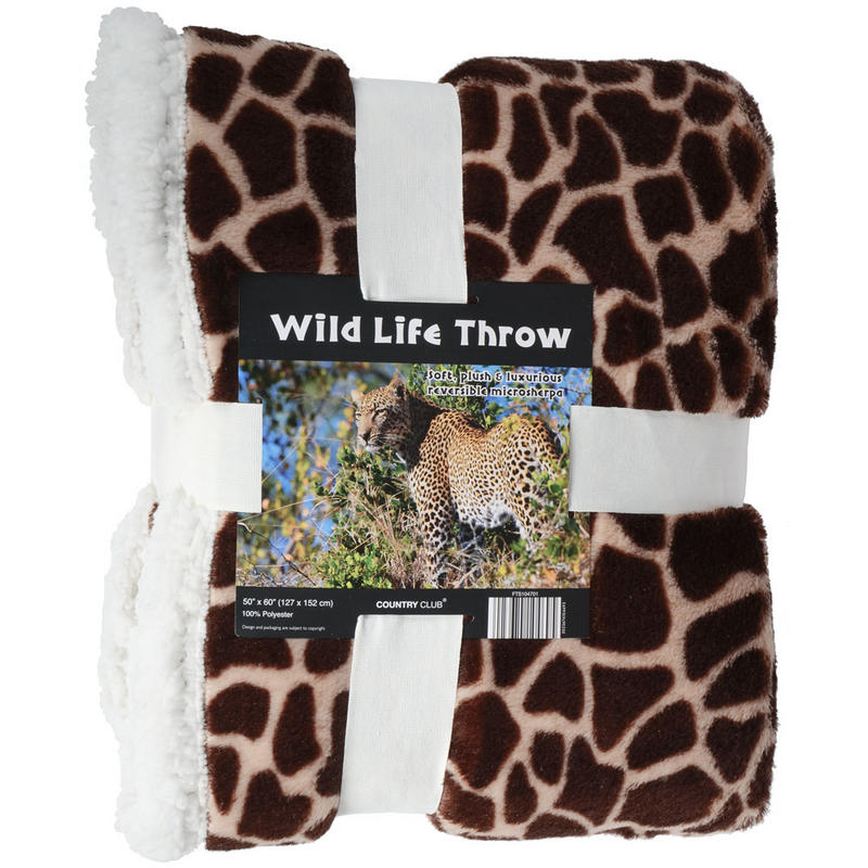 Animal Print Giraffe Blanket Throw Reversible Home Bed