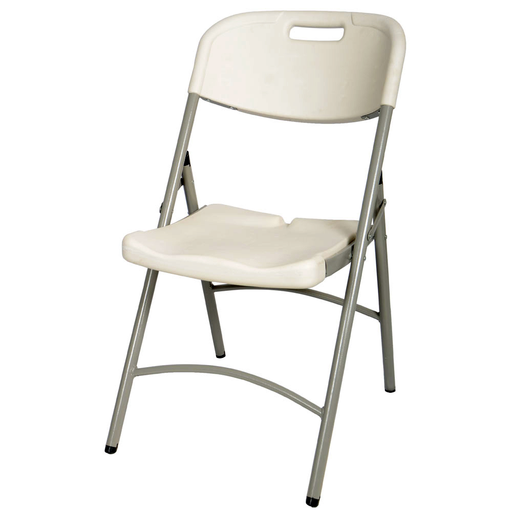 89x42x45CM MOULDED FOLDING PLASTIC WHITE CHAIR FOR BANQUET HOME OFFICE CAMPIN