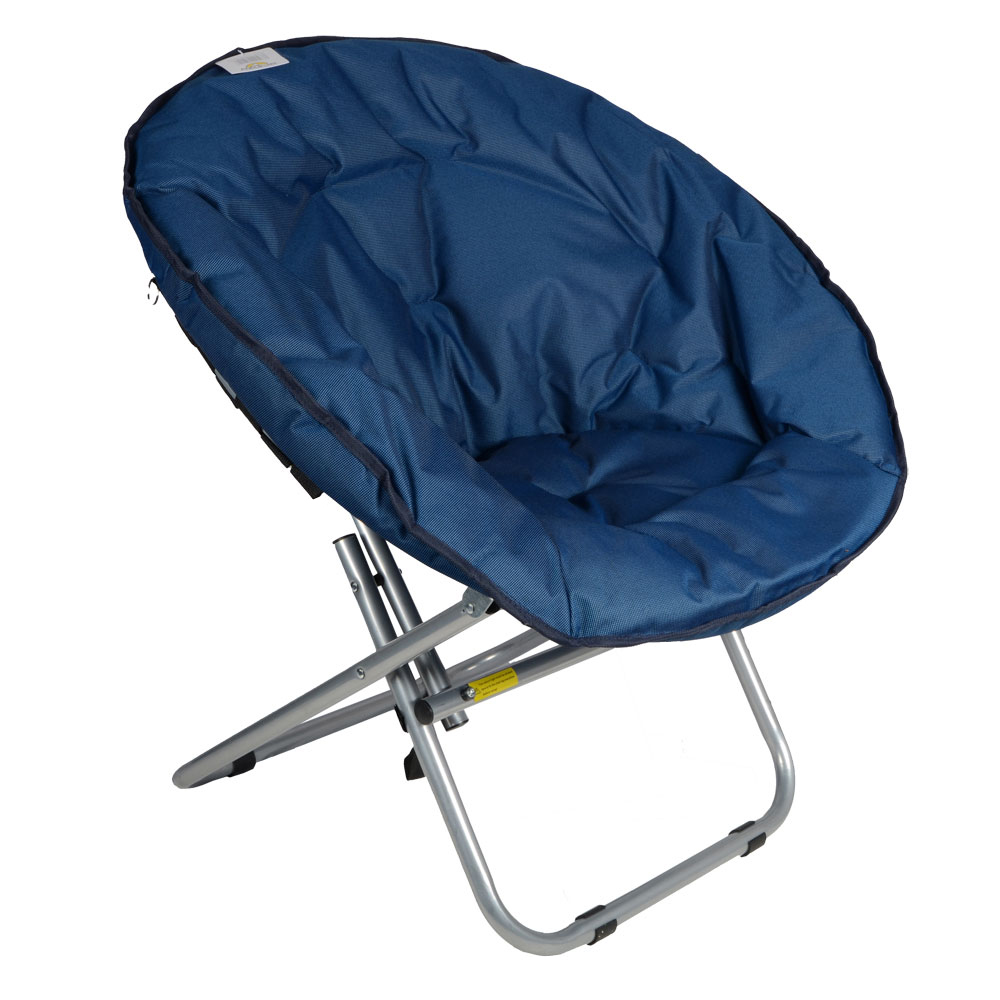 azuma adults padded folding outdoor camping festival garden moon chair seat new ebay. Black Bedroom Furniture Sets. Home Design Ideas