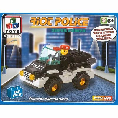 FIA Toys Building Blocks Set Riot Police Super Power 88 Piece Police Jeep