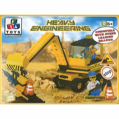 FIA Toys Building Blocks Set Heavy Engineering 106 Piece Digger Rooter Truck