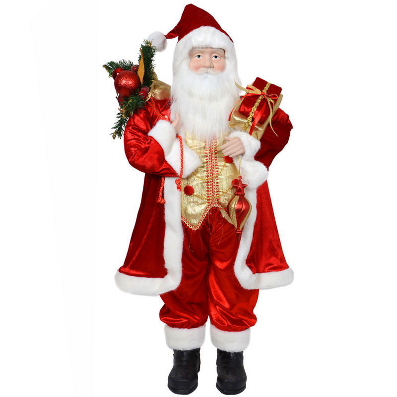 Santa Claus Decorations Uk: 91.5cm Red Standing Santa Claus Detailed Festive Indoor