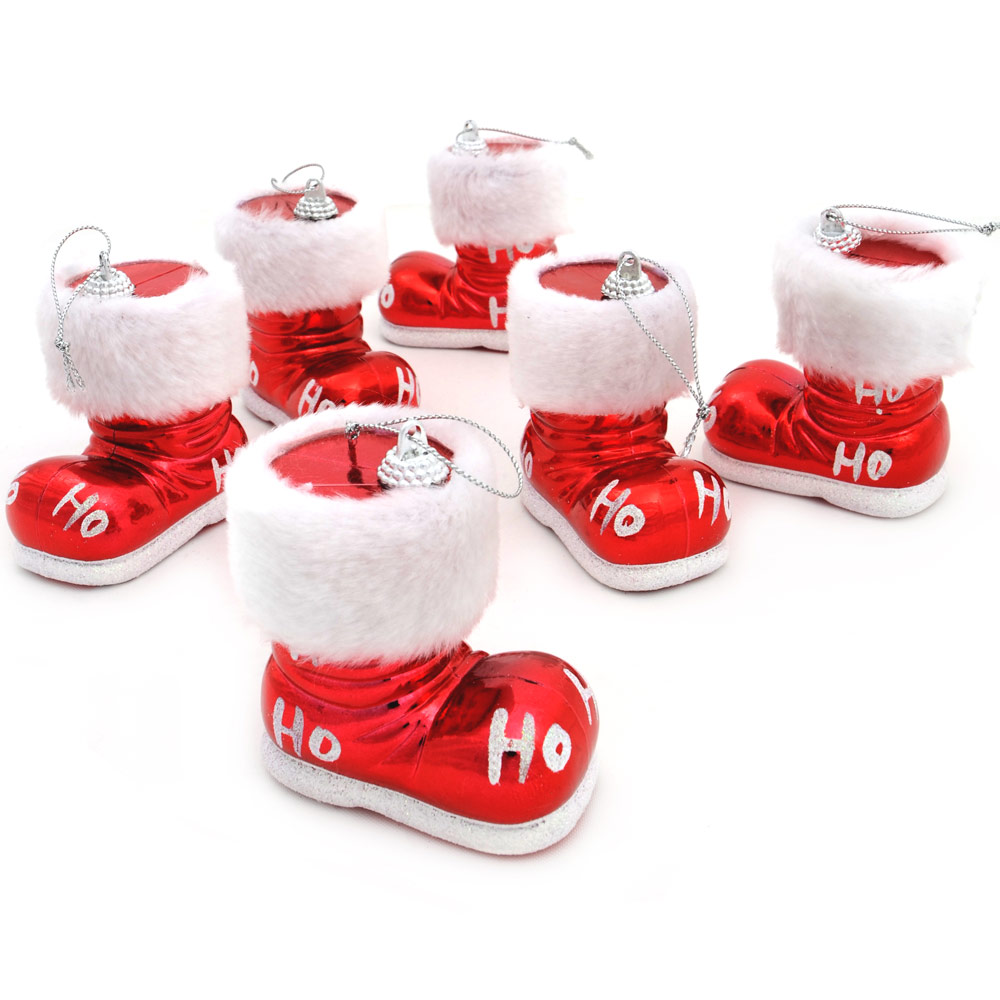 6 Shiny Red Santa Boots With White Glitter & Fur Trim Christmas Tree Decorations