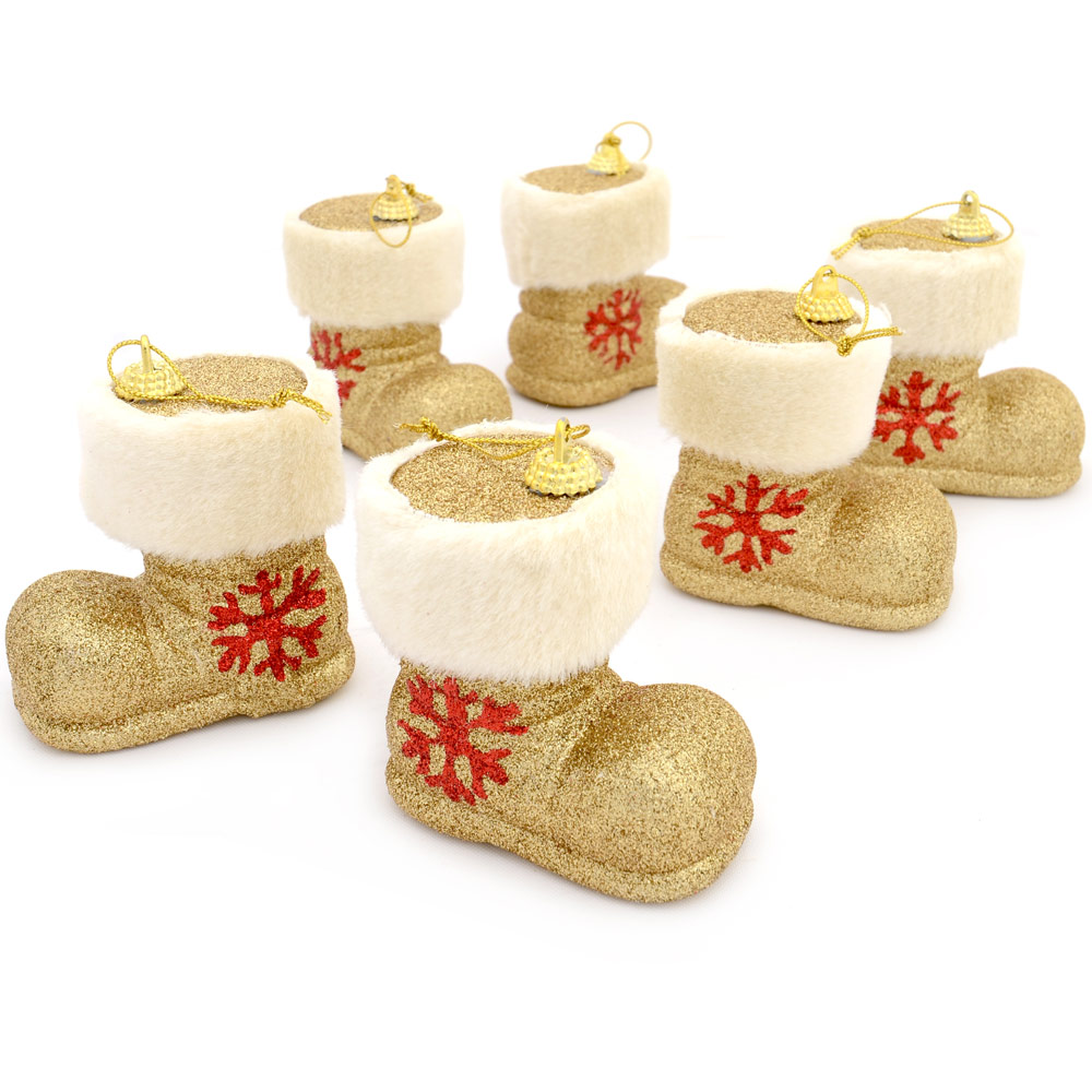 6 Gold Glitter Fur Trim Santa Claus Boots Baubles Christmas Tree Decorations New
