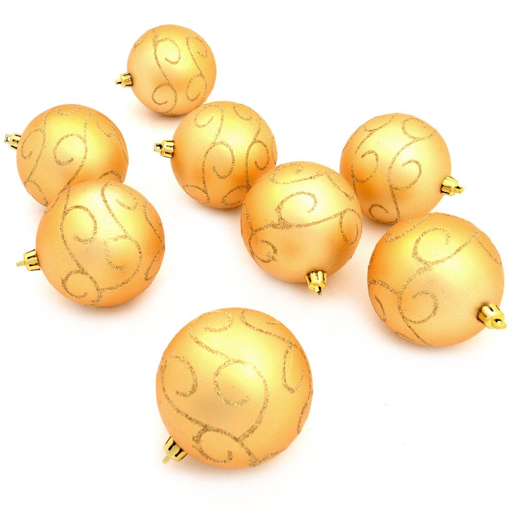 8 Matt Gold 8cm Baubles Swirling Gold Glitter Design Christmas Tree Decorations