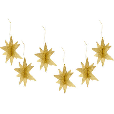 "12 Piece 10cm (4"") Gold Glitter Cut Out Star Shaped Christmas Tree Decorations"