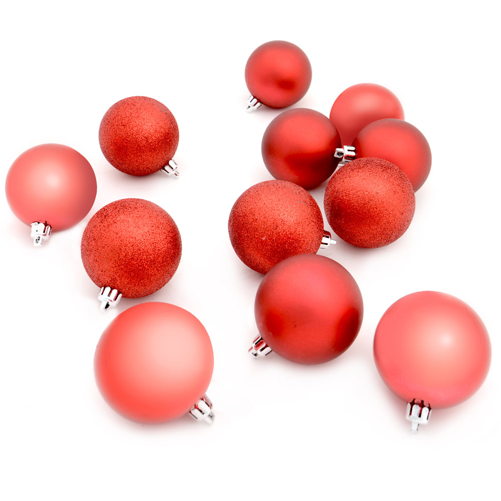 Set Of 12 Assorted Red 6cm Baubles Glitter Matt Shiny Christmas Tree Decorations