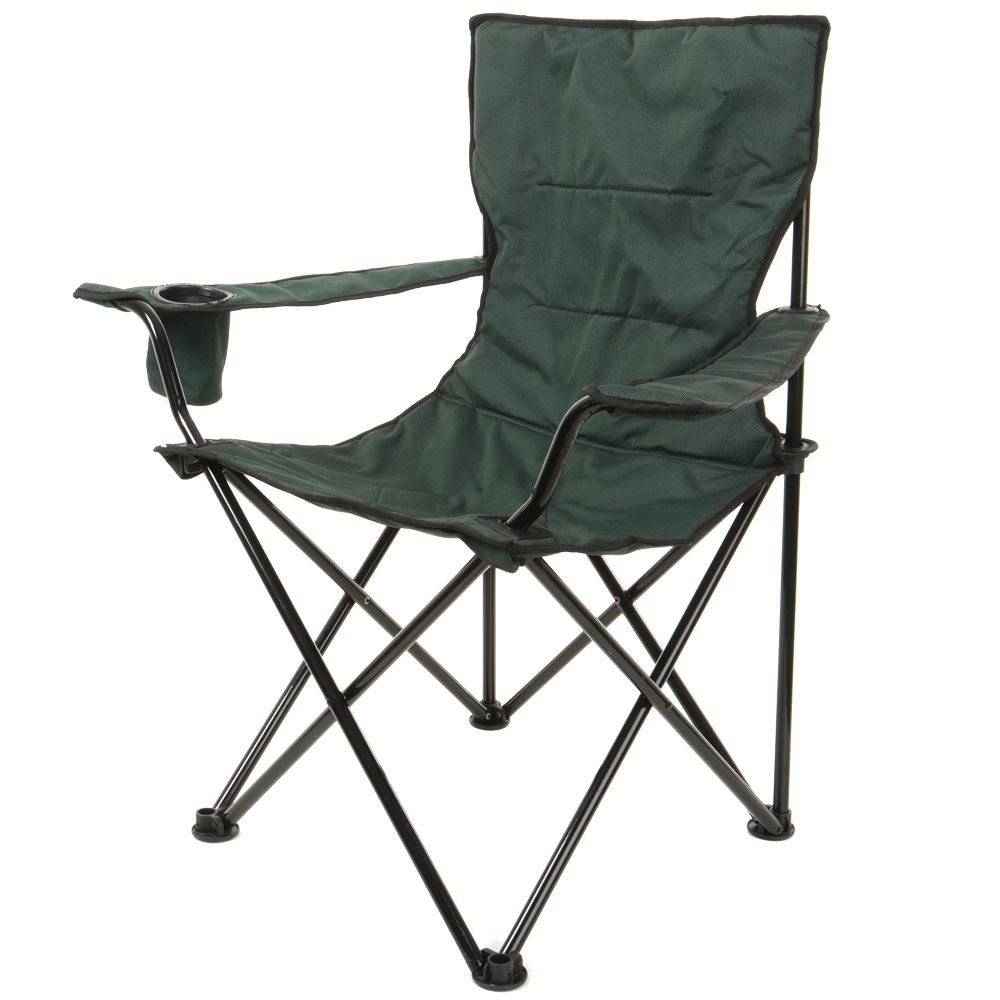 Green Deluxe Folding Outdoor Camping Arm Chair Seat New