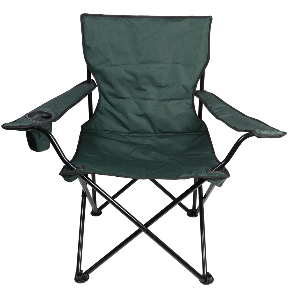 Green Deluxe Folding Outdoor Camping Arm Chair Seat New EBay