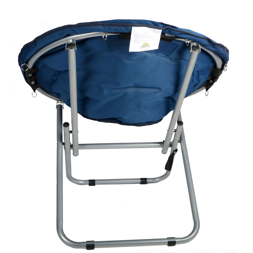 Blue Padded Folding Outdoor Garden Moon Chair Seat New