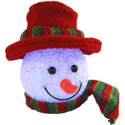 Festive 13cm Light Up Colour Changing Red Snowman Head Decoration With Hanging Loop