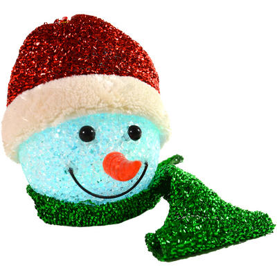 Festive 13cm Colour Changing Red Tinsel EVA Snowman Head Hanging Decoration