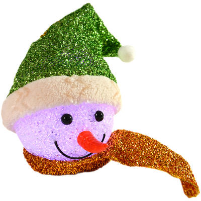 Festive 13cm Colour Changing Green Tinsel EVA Snowman Head Hanging Decoration