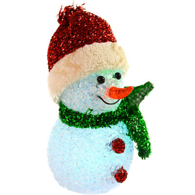 Fantastic 13cm EVA Light Up Free Standing Red Snowman Decoration With Hat And Scarf