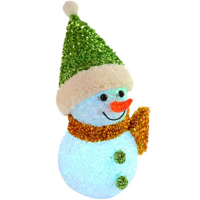 Fantastic 13cm EVA Light Up Free Standing Green Snowman Decoration With Hat And Scarf