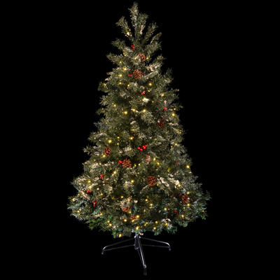 Festive 5ft 152cm Green Pine Prelit Decorated Snow Artificial Christmas Holiday Tree