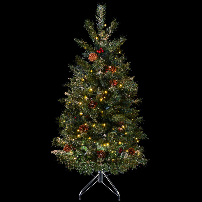 Festive 4ft 122cm Green Pine Prelit Decorated Snow