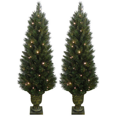 2 x Festive Pre Lit Pathway Artificial Pine Christmas Tree In Planter