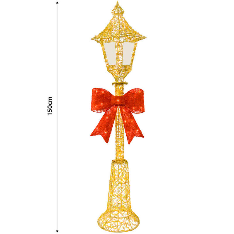 Outdoor Lamp Decoration: 150cm Gold Wire Lamp Post Indoor Outdoor Festive Decoration