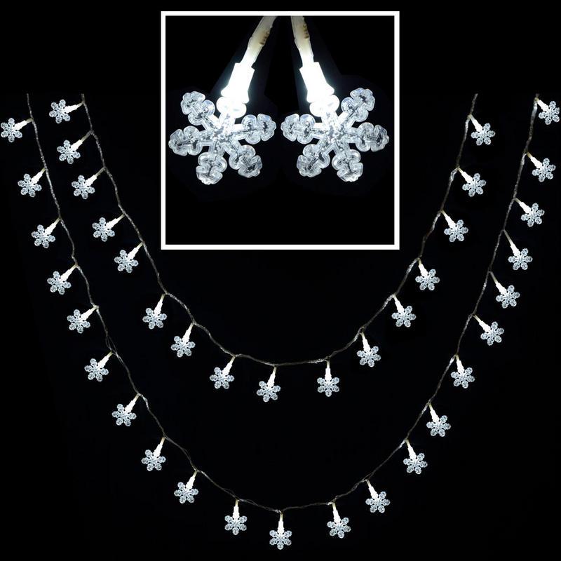 80 Multi Action White LED Snowflake Christmas Fairy Lights