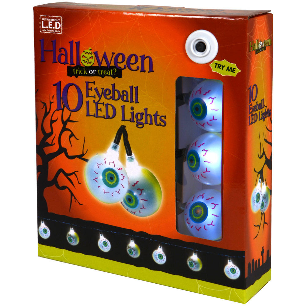90cm 10 White LED Battery Spooky Eyeball Shaped Halloween ...