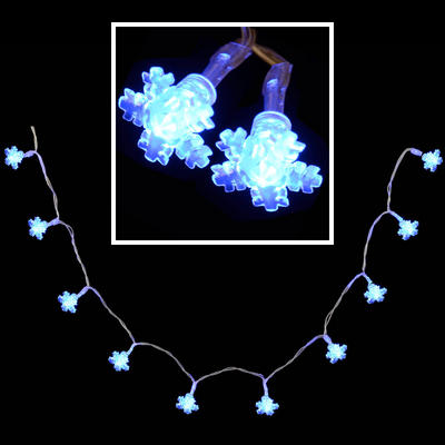 10 Battery Operated Blue LED Snow Flake Lights Lighting Christmas Festive Decoration New