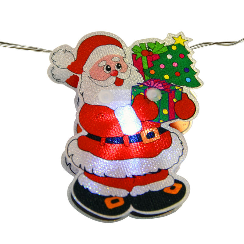 Santa Claus Decorations Uk: 10 Battery Operated White LED PVC Santa Claus Lights
